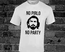 No Pirlo No party T shirt Bianco Faccia Andrea CALCIO Swag AM DROGA CALCIO Fashion