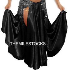 TMS Black Satin Slit Full Circle Skirt Belly Dance Gypsy Tribal Jupe Robe Club