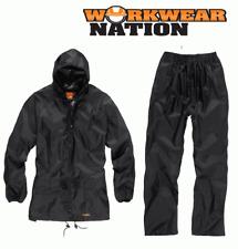 Hombre Scruffs Impermeable Traje Chubasquero Chaqueta y Pantalones Negro