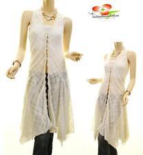 Women VTG Victorian Crochet Cascade Lace Ruffled Long Dress Peasant Cardigan Top