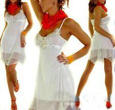 Sexy Miss Damen Chiffon Mini Kleid Babydoll Style Pailletten Silber UK8 34 creme