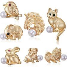 Everyday-7 styles Pearl Women Animal Cat Dog Collar Brooch Pin Custome Jewelry