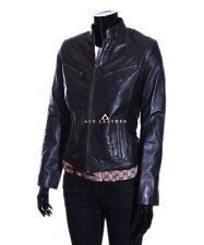 Fay Black Biker Style Designer Ladies Retro Real Lambskin Leather Jacket