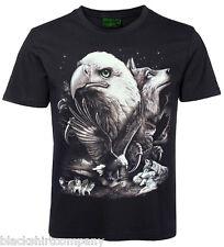 Tiermotiv T-Shirt Seeadler und Wölfe