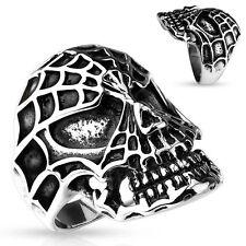 Spider Web Skull Biker Stainless Steel Cast Finger Ring (FL340)