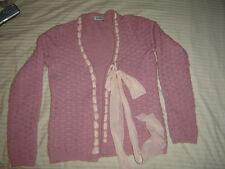 MOSHINO CHEAP & CHIC Cardigan - Basket weave knit-Alpaca/Wool w/silk scarf Sz 8