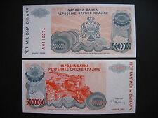 CROATIA  5 Million Dinara 1993  KNIN  (PR24a)  UNC