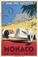 REPRO AFFICHE GRAND PRIX AUTOMOBILE MONACO AVRIL 1935 SUR PAPIER 310 OU 190 GRS