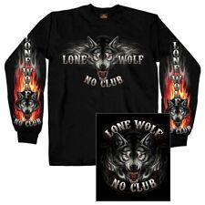 Lone Wolf No Club Double Sided Long Sleeve Biker T-Shirt