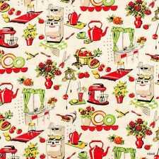 Fifties Nostalgic Kitchen Appliances Cream Michael Miller 50s Cotton Fabric 4/11