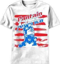 Captain America Brush Stripes White T-Shirt