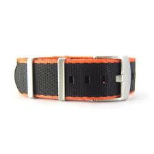 Seat Belt NATO Watch Strap | Black & Orange | Premium Quality | 20mm 22mm