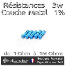 Lot de 5 Resistances 3W 1% Métal - Valeur de 1 Ohm à 1M Ohms au choix