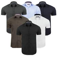 Mens Plain Shirt Short Sleeved Cotton Blend Casual Top By Brave Soul