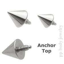 Steel Dermal Anchor Top 14G~3x3mm, 4x4mm Spike 316L Surgical