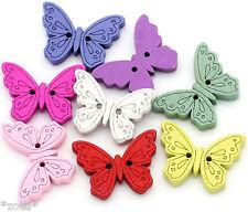 7 Stück Papillon 24mm boutons en bois bouton Deux Trous coudre butterfly #
