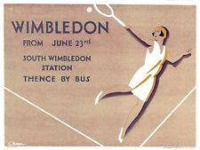 1930 Wimbledon TENNIS CAMPIONATO POSTER PROMOZIONALE STAMPA A3