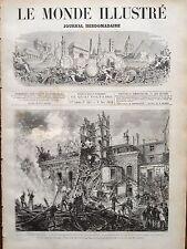 MONDE ILLUSTRE 1873 N 865 INCENDIE OPERA DE PARIS, LES POMPIERS DANS LES RUINES