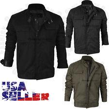 Mens Windbreaker Slim Fit Coat Jacket Casual Outwear Mock Collar Cotton Winter