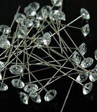 "100 Gem Diamond Cut 2"" Corsage Boutonniere Pins Diamante Wedding Flowers"