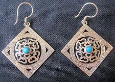 925 Sterling Silver Mandala EARRINGS turquoise Tibet Nepal double dorje square