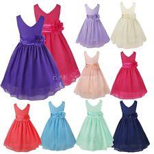 Blumen-Mädchen Kinder Festkleid Hochzeit Kommunionkleid Prinzessin Chiffon Kleid