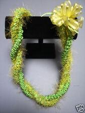 Hawaiian Rattail Eyelash Yarn Crochet Lei Lime & Yellow