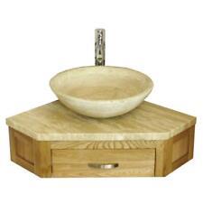 Bathroom Vanity Unit Oak Corner Wash Stand Travertine & Travertine Basin 501W