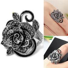 Women Retro Rose Flower Ring Black Crystal Vantige Big Flower Rings Jewelry R0