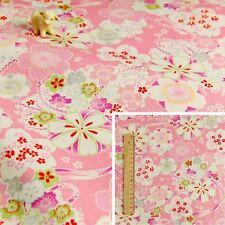 JAPANESE PINK Meter/Squares Linen Fabric Oriental Kimono Floral Ribbon Flowers