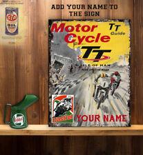 PERSONALISED TT MOTORCYCLE DAD IOM  FATHER VINTAGE METAL SIGN