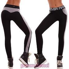 Pantaloni donna leggings skinny sport fitness scritte riga elastici nuovi K9548