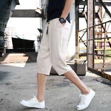 Men Shorts Korean Cropped Pants Linen Loose Thin casual  Man Summer Harem Pants