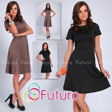 Ladies Classic Skater Dress Short Sleeve Crew Neck Evening Tunic Size 8-14 FA381