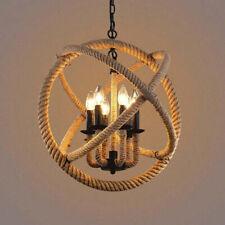 Industrial Rope Orb Candle Bulb Holders Chandelier Lights Sphere Pendant Light