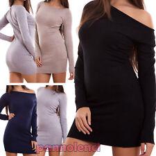 Vestito donna miniabito maglione abito pull aderente elastico nuovo FZ-9650