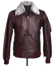 Men's U.S AIR FORCE Brown Fur Colar Aviator Skipper Cowhide Real Leather Jacket