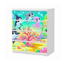 Set Möbelaufkleber für Ikea Kommode MALM 4 Fächer Fisch Riff Folie 25B1715
