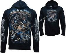 Wild & Free Dragon Biker Brillan En La Oscuridad zip con cremallera sudadera con capucha chaqueta M-Xxl