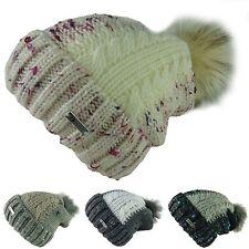 Berretto HELEN beanie lungo Pon di pelliccia donna uomo lavorato a maglia 702PC