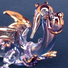 Dragon Friendly Figurine Magic Blown Glass Gold Crystal