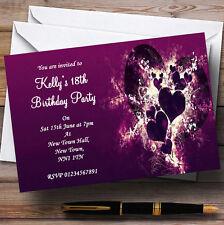 Purple Hearts Romantic Personalised Party Invitations
