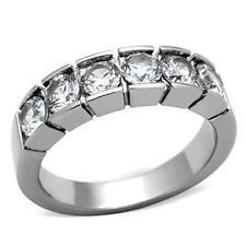 1082 6STONE STAINLESS STEEL ETERNITY BAND SIMULATED DIAMONDS ANNIVERSARY RING
