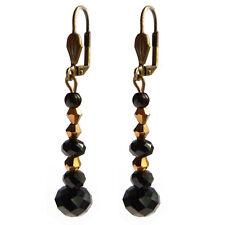 boucles d'oreilles dormeuse pendantes perles facettes noir et or, rose ou vert