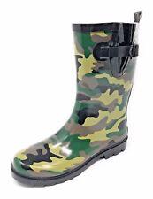 Women Short Moto Style Rubber Rain Boots PRINTED/CAMO Colors