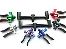 2 x alloy 13cm mini buzz bars and 2 x adjustable coloured butt rests rod pod