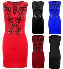 Ladies Sleevless Black Shiny Beaded Open Neck Short Bodycon Women's Dress 8-16