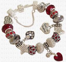 Dark RED & Clear Charm Bead Bracelet SWAROVSKI Elements Heart GIFT BOX