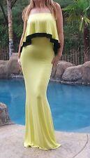 Maya Antonia-2XL SIZE-Sexy Strapless Ruffle Maxi Dress Yellow w/Black trim