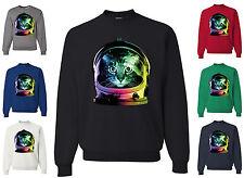 Space Cat Crewneck Sweatshirt Neon Galaxy Kitten Austronaut Cute Sweatshirt